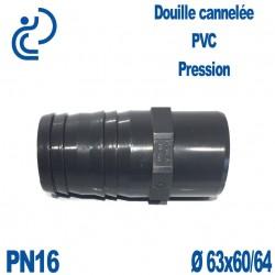 Douille Cannelée D63x60/64 Mâle Mâle PVC Pression