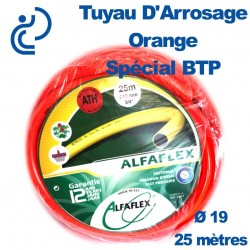 TUYAU D'ARROSAGE ORANGE D19 SPECIAL BTP couronne de 25ml
