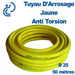 TUYAU D'ARROSAGE JAUNE D25 Anti torsion couronne de 50ml