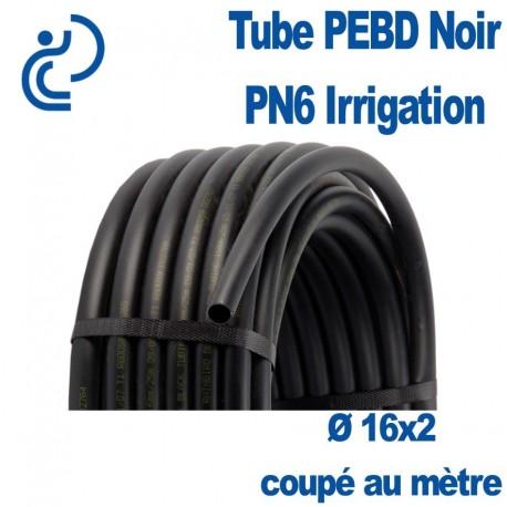 TUBE PEBD NOIR 16X2 PN6 coupé au mètre linéaire