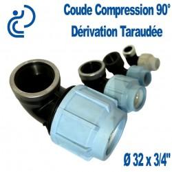 """COUDE COMPRESSION 90° D32x3/4"""" dérivation taraudée"""