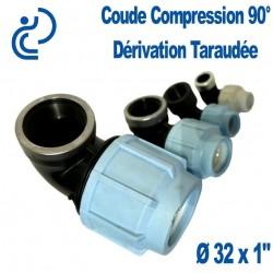 """COUDE COMPRESSION 90° D32x1"""" dérivation taraudée"""