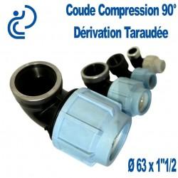 """COUDE COMPRESSION 90° D63x1""""1/2 dérivation taraudée"""