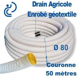 Drain Agricole D80 Enrobé géotextile Couronne de 50ml