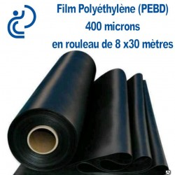Film Polyéthylène (PEBD) étanche 400 microns en rouleau de 8x30 mètres