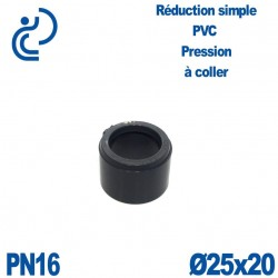 Réduction Simple D25x20 Mâle Femelle à coller PVC Pression