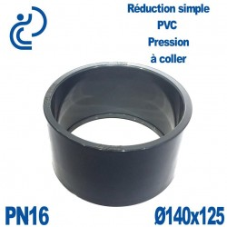 Réduction Simple D140x125 Mâle Femelle à coller PVC Pression