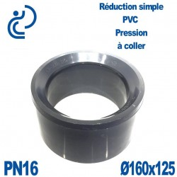 Réduction Simple D160x125 Mâle Femelle à coller PVC Pression