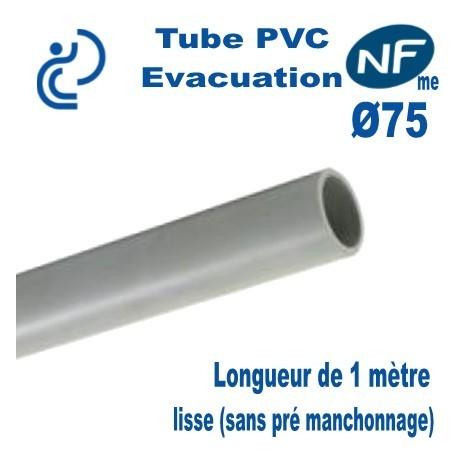 TUBE PVC Évacuation NF E + NF ME D75 coupé en 1ml lisse