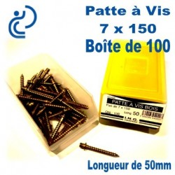 Patte à Vis Bois 7x150 longueur 50mm Boîte de 100