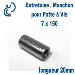 Entretoise pour Patte à Vis 7x150 longueur 20mm Femelle-Femelle