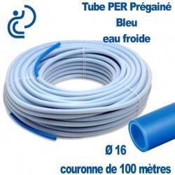 Tube PER Bleu PréGainé Ø16 en Couronne de 100 mètres