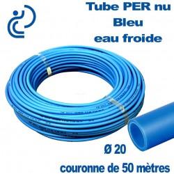 Tube PER Bleu Nu Ø20 en Couronne de 50 mètres