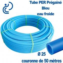 Tube PER Bleu PréGainé Ø25 en Couronne de 50 mètres