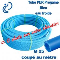 Tube PER Bleu Ø25 PréGainé Coupé au mètre