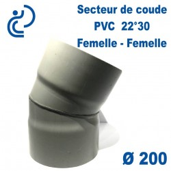 Secteur de Coude 22°30 D200 PVC FF