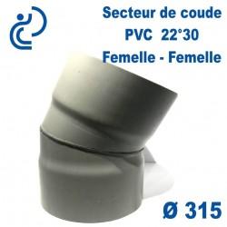 Secteur de Coude 22°30 D315 PVC FF