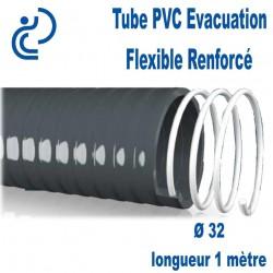 Tube PVC Évacuation Flexible Renforcé Ø32 longueur de 1 mètre