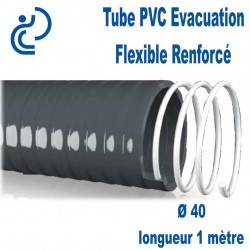 Tube PVC Évacuation Flexible Renforcé Ø40 longueur de 1 mètre