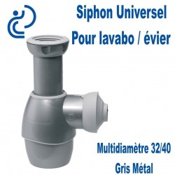 Siphon d'Evier Universel Tour en Un PVC Gris Métalisé