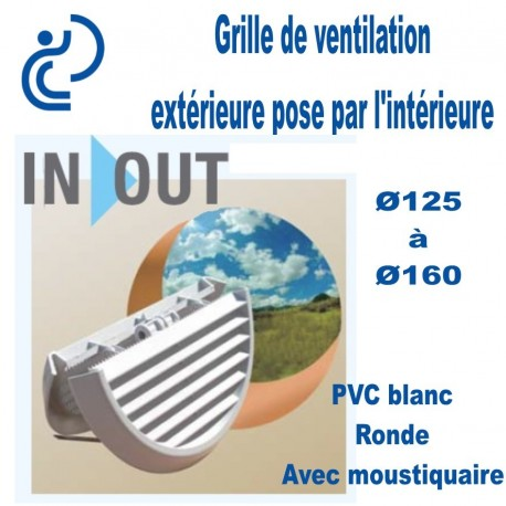 Grille de Ventilation ronde PVC Blanc extérieure pose par l'intérieur In&Out Ø125x160