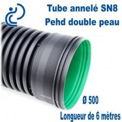 Tube annelé Double Paroi PEHD D500 barre de 6ml AQUATUB