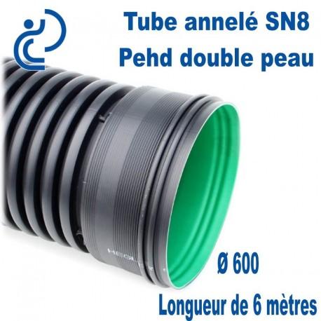 Tube annelé Double Paroi PEHD D600 barre de 6ml AQUATUB