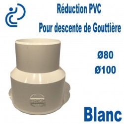 Réduction pour Descente de Gouttière PVC 80/100 MF Blanc