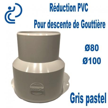 Réduction pour Descente de Gouttière PVC 80/100 MF Gris pastel