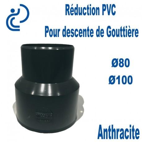 Réduction pour Descente de Gouttière PVC 80/100 MF Anthracite