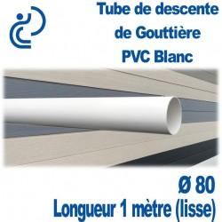 TUBE DESCENTE GOUTTIERE PVC D80 BLANC en longueur de 1ml (lisse)