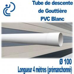 TUBE DESCENTE GOUTTIERE PVC D100 longueur 4mètres