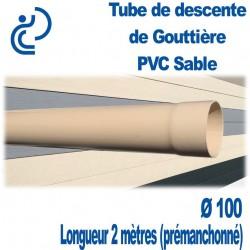 TUBE DESCENTE GOUTTIERE PVC D100 SABLE en longueur de 2ml (prémanchonné)