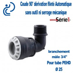 "COUDE DERIVATION SERIE1 90° MALE D25X3/4"" filtage PP"