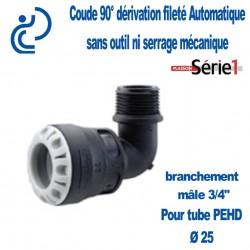 "COUDE DERIVATION SERIE1 90° MALE D25X3/4"" filtage PP"