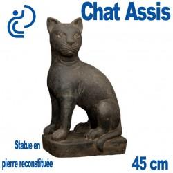 Statue Ornementale Pierre Reconstituée Chat Assis 45cm