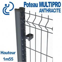Poteau de Clôture métal MULTIPRO Anthracite Hauteur 1m55