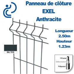 Panneau de Clôture métal EXEL Anthracite Hauteur 1m23 Longueur 2m50