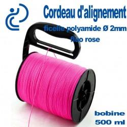 Cordeau d'alignement Fluo Rose bobine de 500ml à poignée