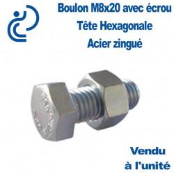 Boulon Zingué Tête Hexagonal M8x20 (à la pièce)