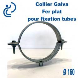 Collier Galva Fer Plat D160 pour fixation de canalisations