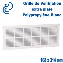 Grille de Ventilation Extra Plate PP Blanc Rectangle à visser 108x314