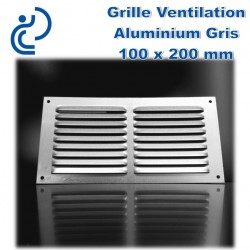 Grille de Ventilation en Aluminium Gris 10x20