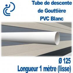 TUBE DESCENTE GOUTTIERE PVC BLANC d125 longueur 1m lisse
