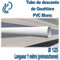 Tube Descente Gouttière PVC D125 BLANC longueur de 1ml Prémanchonné