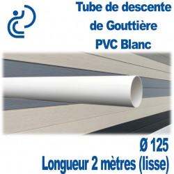 Tube Descente Gouttière PVC D125 BLANC longueur de 2ml Lisse