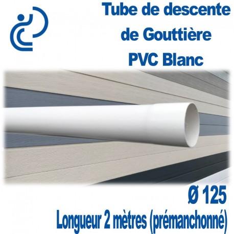 Tube Descente Gouttière PVC D125 BLANC longueur de 2ml Prémanchonné