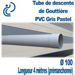 Tube Descente Gouttière PVC D100 Gris Pastel en longueur de 4ml