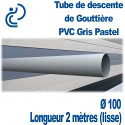 Tube Descente Gouttière PVC D100 Gris Pastel en longueur de 2ml (lisse)