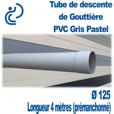 Tube Descente Gouttière PVC D125 Gris Pastel en longueur de 4ml